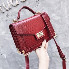 bc08beb4eb Retro Fashion Female Square bag 2018 New Quality PU Leather Women bag  Crocodile pattern Tote bag