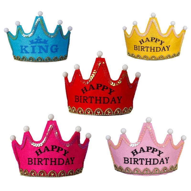 LED Light Up Birthday Hat Princess King Happy Birthday Crown Cap Headband Christmas Party Decor Headband