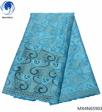 Beautifical mesh lace fabric net embroidery african 2018 high quality light blue online hot sales MX4N659