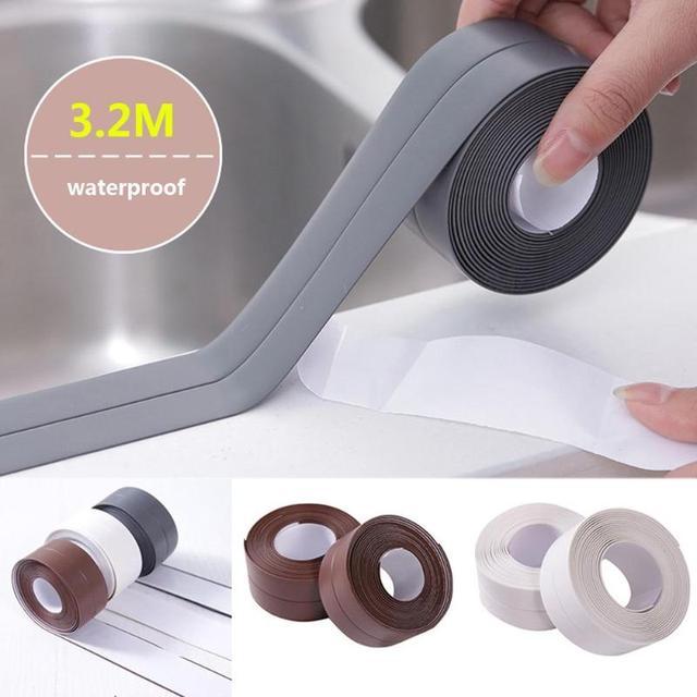 2.2*320cm Self Adhesive Kitchen Ceramic Sticker Waterproof Anti-moisture PVC Sticker Bathroom Wall Corner Line Sink Stickers