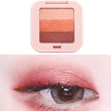 3 Colors Gradient Eyeshadow Palette Waterproof Long Lasting Wine Red Pumpkin Powder Sunset Brighten Eye Shadow Makeup