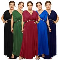 Fashion Women Long Dress Evening V Neck Batwing Sleeve Tunic Party Clubwear Gown Plus Size Summer Dress Loose Empire Waist New