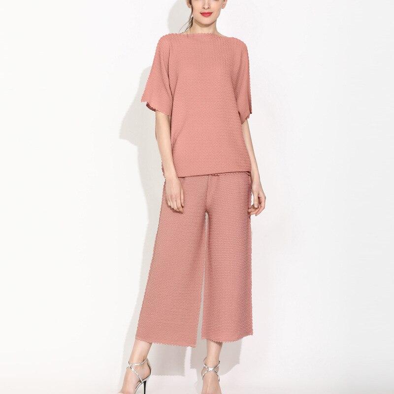Summer Miyake fold set fashion bamboo leaf pleat design European station loose large size was thin women's two piece suit