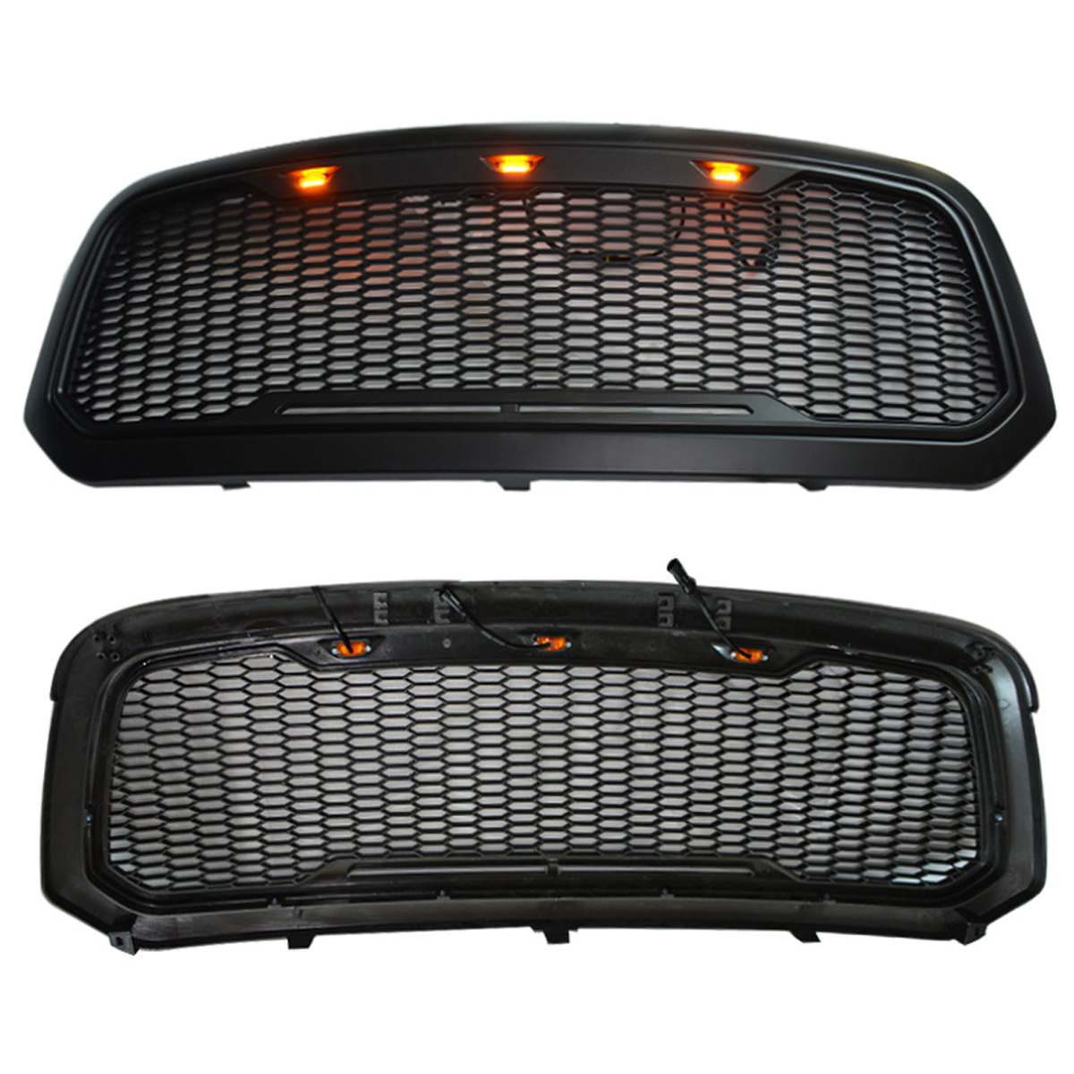 Racing Grille For Dodge ram 1500 2013-2018 with led light Replacement Front Mesh Grille Shell Black Auto Accessories