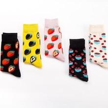 Fashion Original Mens Socks Cotton Colorful Dress Happy Novelty Animal Strawberry Patterned Harajuku Men Sock hip hop Gift
