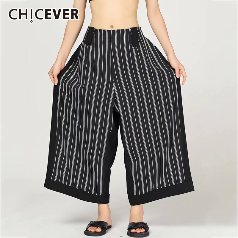 CHICEVER Summer Striped Print Women   Pant   Pockets Elastic High Waist Loose Oversize Female Ankle-length   Wide     Leg     Pants   2019 New