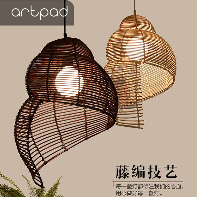 South Asia Art Decoration Conch Shape Pendant Light Hand Knitted Wicker Hanging Lighting Lamp For Bar Restaurant Balcony KitchenSouth Asia Art Decoration Conch Shape Pendant Light Hand Knitted Wicker Hanging Lighting Lamp For Bar Restaurant Balcony Kitchen