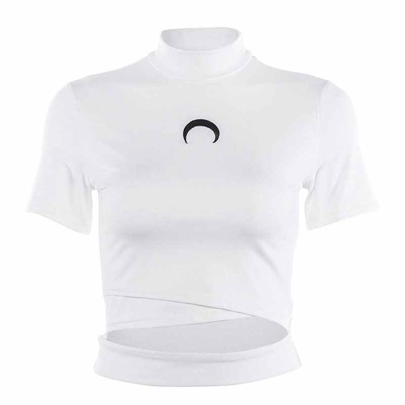 Women White T Shirt Summer Fashion Moon Print Harajuku Black Tees Fitness Gothic Streetwear Sexy Crop Top Hollow Casual Tshirt