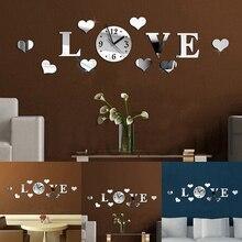 Modern 3D Acrylic Mirror Quartz Stickers Love Hearts Wall Clocks
