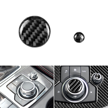 2PCS Real Carbon Fiber Car Center Console Multimedia Volume Button Cover Protective Trim For Mazda 3