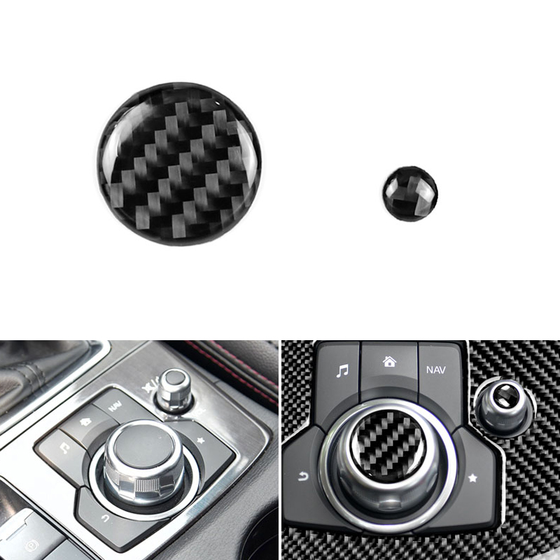 2PCS Real Carbon Fiber Car Center Konsole Multimedia Volumen Taste Abdeckung Schutz Trim Für <font><b>Mazda</b></font> <font><b>3</b></font> 6 CX-5 CX-9 2017 image