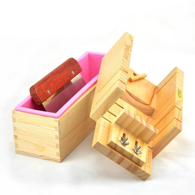 3/4pcs Soap Making Tools Set Adjustable Wooden Soap Cutter Box Stainless Steel Wax Soap Slicer Wavy Knifes Soap Making Kits