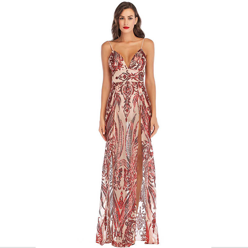 ... Double Slit Sequins Red Maxi Dress Women Patterns High Waist Chic Sexy  Dresses Evening Party Dresses ... 0f5c090c9f82
