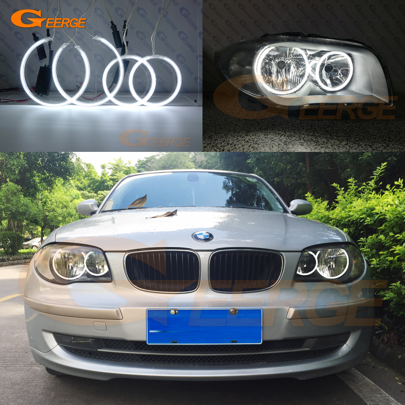 For BMW 1-serie E81 E82 E87 E88 Halogen Hovedlyskaster Utmerket Ultralykt belysning CCFL Angel Eyes-sett Halo Ring