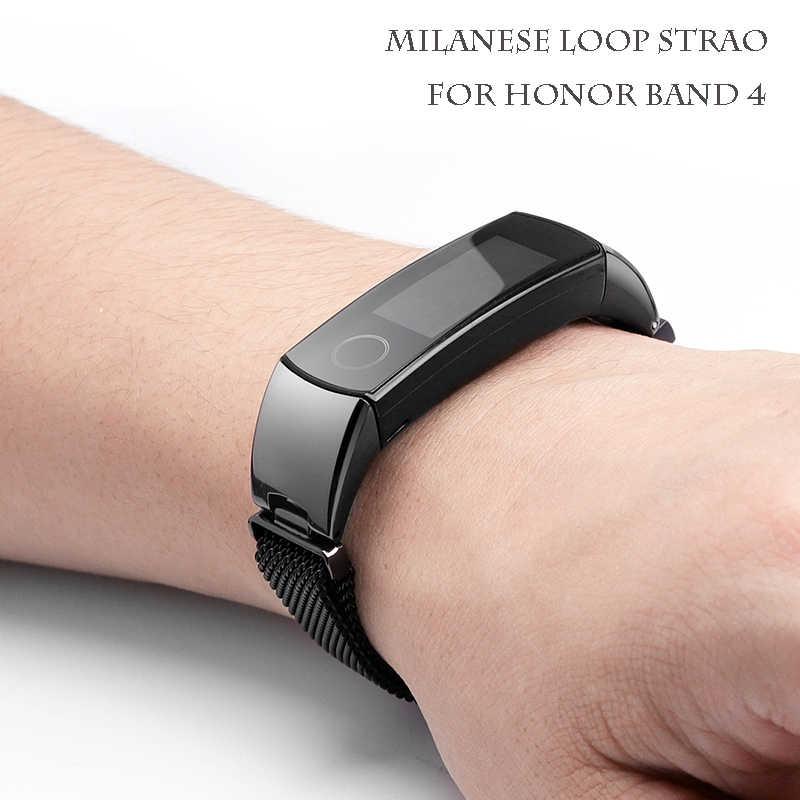 Металлический браслет ремешок для huawei honor Band 5/4 стандартная версия спортивный автоматизированный браслет группа honor Band 4 нержавеющая сталь