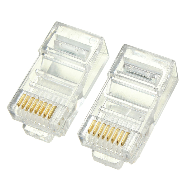 50PCS RJ45 RJ-45 CAT6 Modular Cable Head Plug Ethernet Gold Plated Network Connector Gold Plated Leads Higher Signal Strength