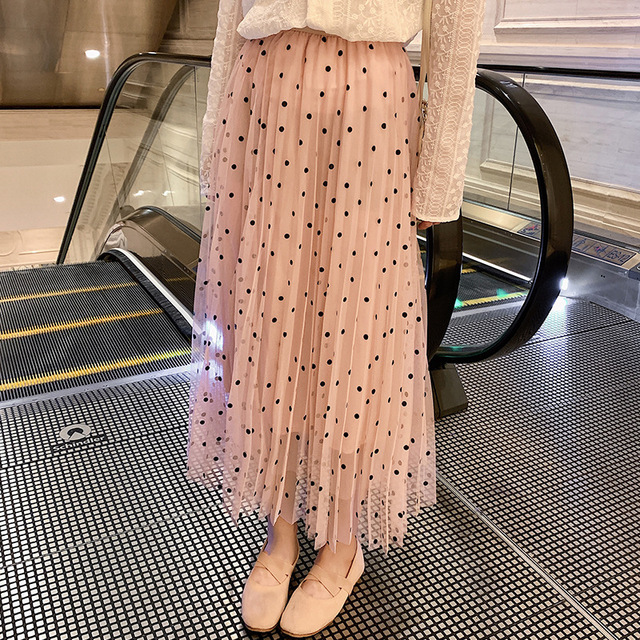 d75df86d3e Vintage High Waist Polka Dot Lace Mesh Long Pleated Skirt Summer Spring  Pink Jupe Tulle Maxi Skirt Korean Style Women Skirts