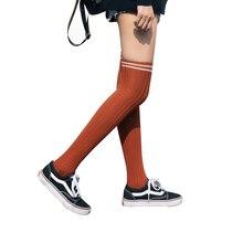 1 пара, хлопковые полосатые носки выше колена для женщин и девочек, чулки, длинные колготки до бедра, мягкие повседневные носки(оранжевые
