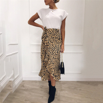 Summer Sexy Women Lace Up Skirts Fashion High Waist Ruffles Loose Slim Long Wrap Skirt 2019 New Ladies Leopard Outwear Clothing 1