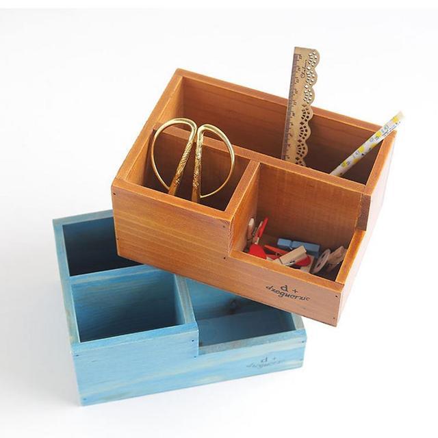 Retro Wooden Grid Desktop Organizer