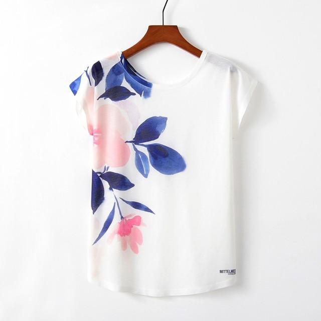 KaiTingu Spring Summer Women T Shirt Novelty Harajuku Kawaii Cute Style Flower Print T-shirt New Short Sleeve Tops Size M L XL