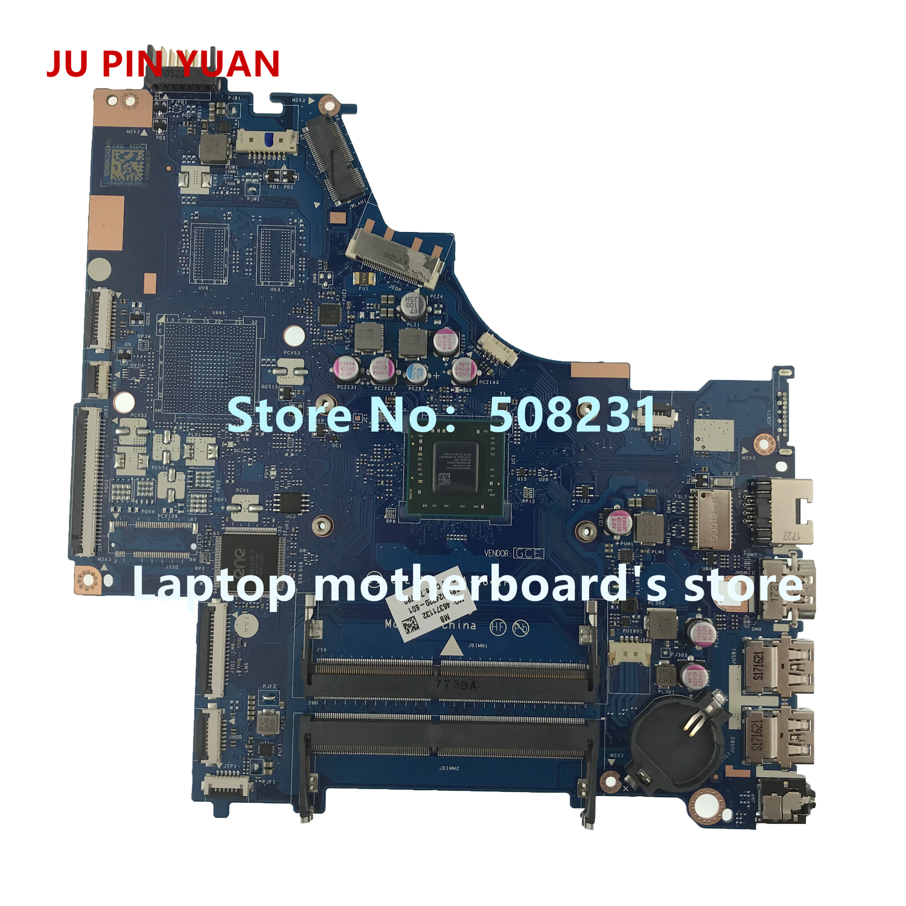 JU PIN YUAN 924720-601 CTL51/53 LA-E841P 15-bw066sa Laptop Motherboard mainboard Para HP LAPTOP 15-BW A6-9220P totalmente testado