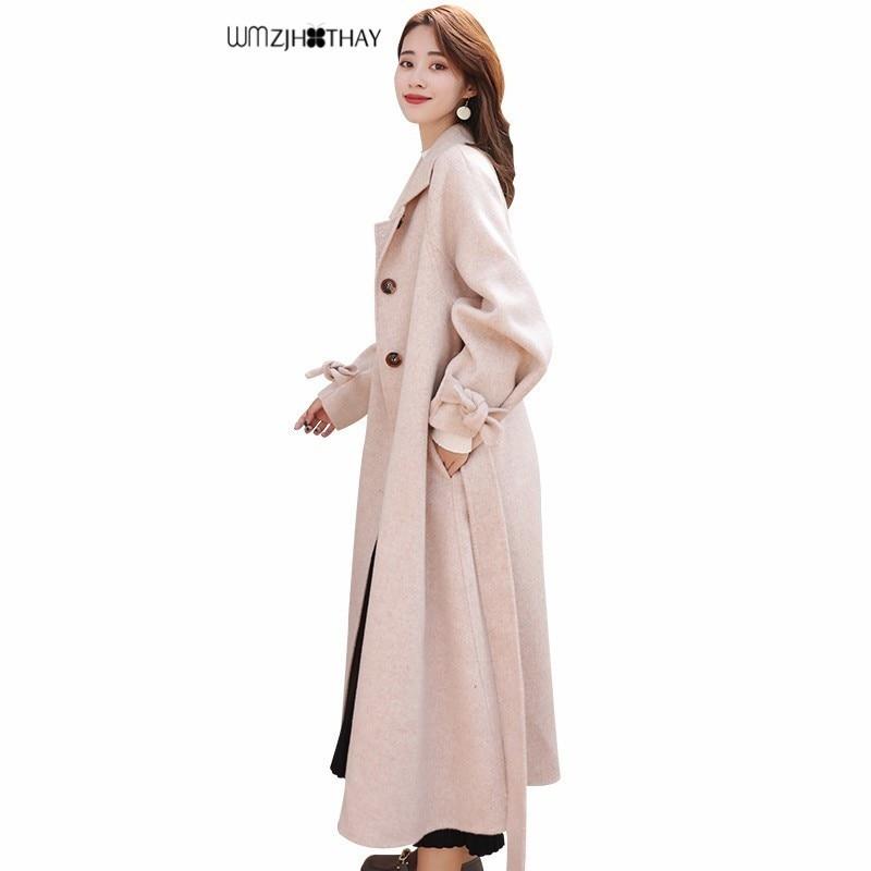 Laine arc lâche manteau hiver femmes mode Long paragraphe solide couleur simple boutonnage veste tempérament mince femme pardessus 95