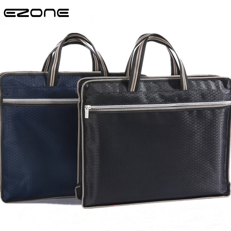 EZONE 1PC Waterproof Oxford Cloth File Bag Double Zipper Business Meeting File Bag Rhombus Widened Folder Office File Organized