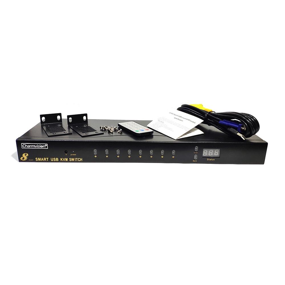 Charmvision UK801R 8 ports commutateur KVM USB ordinateur commutateur monté sur rack 4 USB 2.0 simultanément télécommande 8 pièces câble kvm - 6