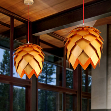 3 PCS Modern Art OAK Wooden Pinecone Pendant Lights Hanging Wood modern Lamps Dinning Room Restaurant Fixtures Luminaire