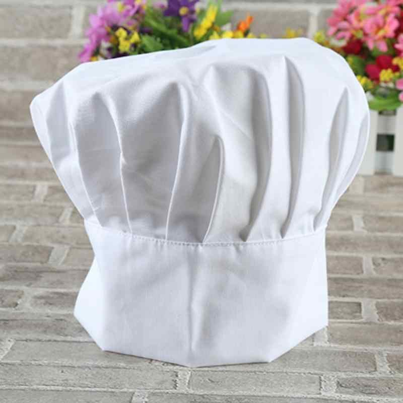 Nuevo adulto hombres mujeres elástico blanco Chef sombrero Baker barbacoa  cocina Unisex cocina sombrero traje tapa 8bed2376634