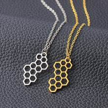 Fashion Necklace Women Geometric Honeycomb Pendant Clavicle Chain Necklace Jewelry collares de moda 2018(China)