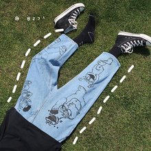 2020 erkek mavi renkli karikatür baskı rahat pantolon Baggy Homme klasik kargo cep kot Biker Denim pantolon S 2XL