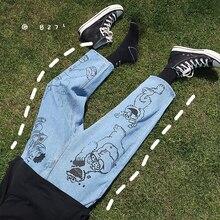 2020 الرجال الأزرق اللون الكرتون الطباعة سراويل تقليدية فضفاض أوم الكلاسيكية البضائع جيب الجينز السائق سراويل جينز S 2XL