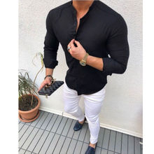 New Men's Linen Cotton Button Long Sleeve Top Shirt Slim Fit Casual Tee Blouse Tops slim fit v neck long sleeve button tee