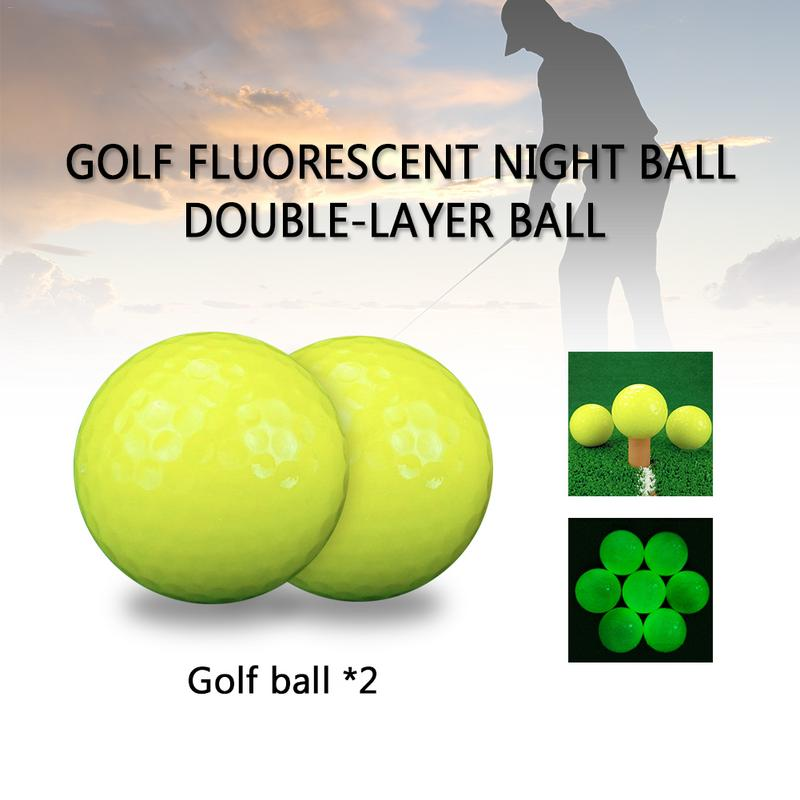 MUMIAN 2 Pieces Professional Golf Fluorescent Night Ball Double-Layer Ball For Match Or Practice Play
