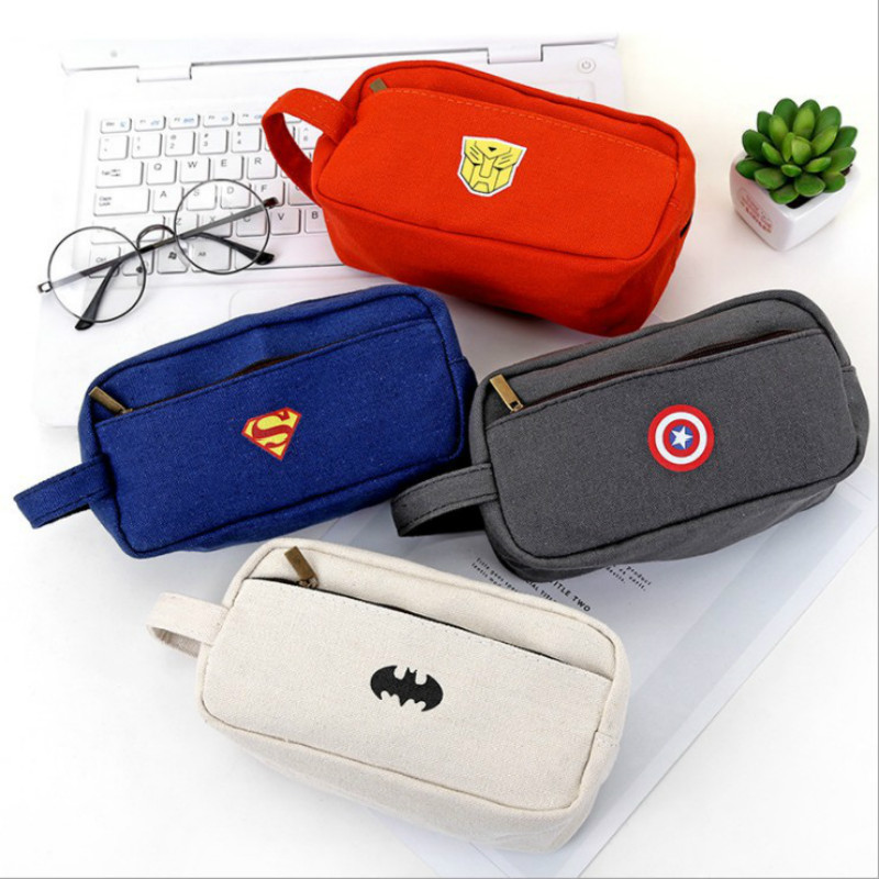 NOVERTY Cute Big Superhero Canvas Pencil Case Creative Large Capacity Side Open Zipper Pencil Bag School Stationery 05082