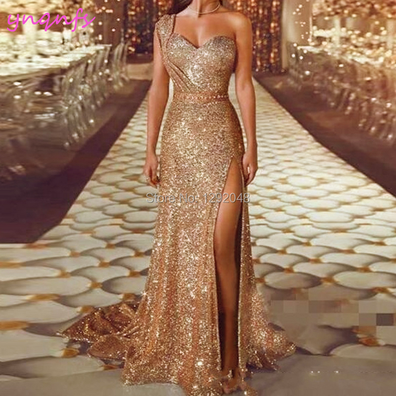 YNQNFS P50 Sexy High Leg One Shoulder Crystal Sequin Gown Gold   Prom     Dresses   Long 2019