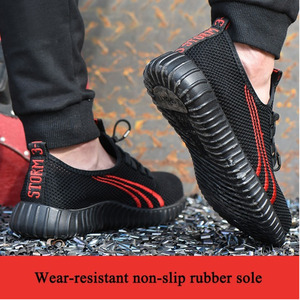 Image 5 - Steel head mesh mens safety shoes, lightweight and breathable mens work shoes, non slip wearable mens boots rubber sole
