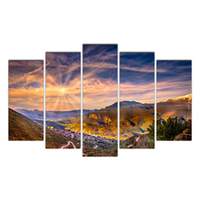 Canvas HD Printing 5 Pieces scenery Modular Picture Scenery Wall Art Framework Oil Paintings Living Room Posters Free shipping