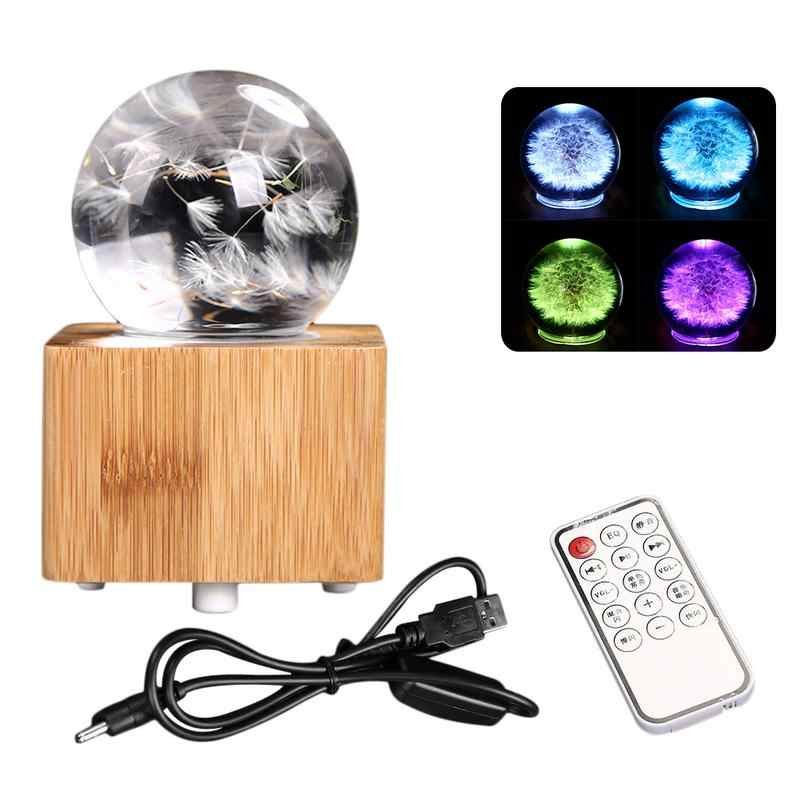 AUGKUN Bluetooth Music Box Dandelion Crystal Ball Colorful Night LED Light for Holiday Gift Home Decoration