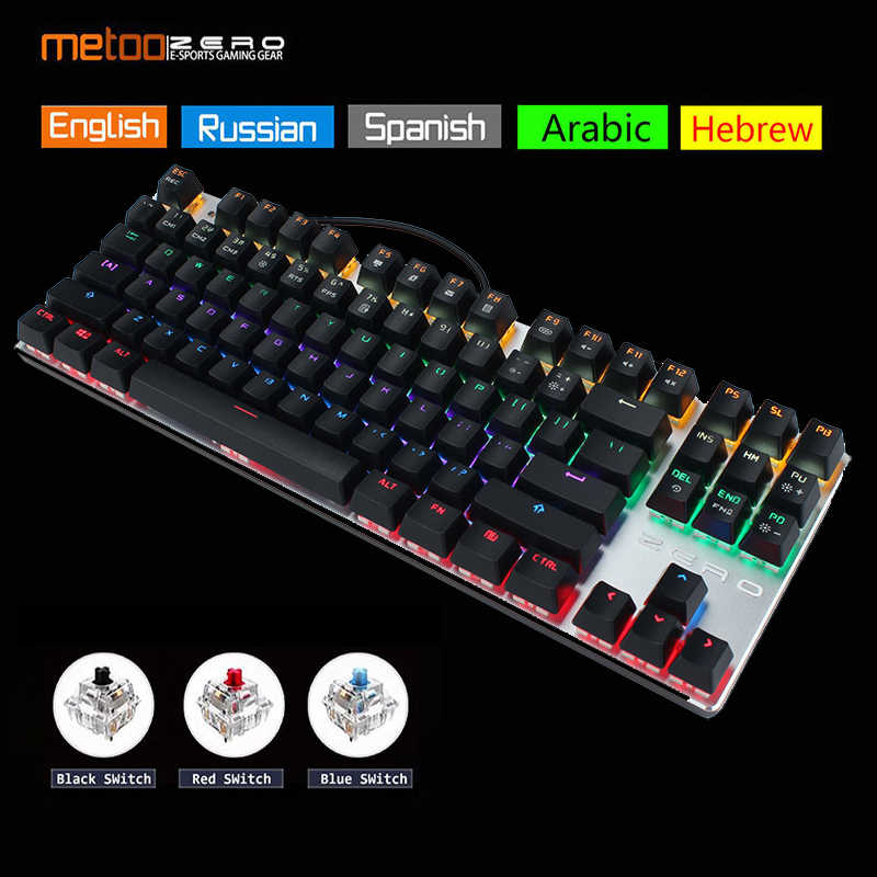 Asli Metoo Nol Gaming Keyboard Rusia/Inggris/Bahasa Arab Mekanik Keyboard 104 Kunci USB Kabel Keyboard Biru/Merah switch