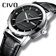 CIVO Genuine Leather Watch Men Waterproof Date Calendar Watches For Mens Clock Black Business Casual Quartz Wrist Reloj Hombre цена и фото