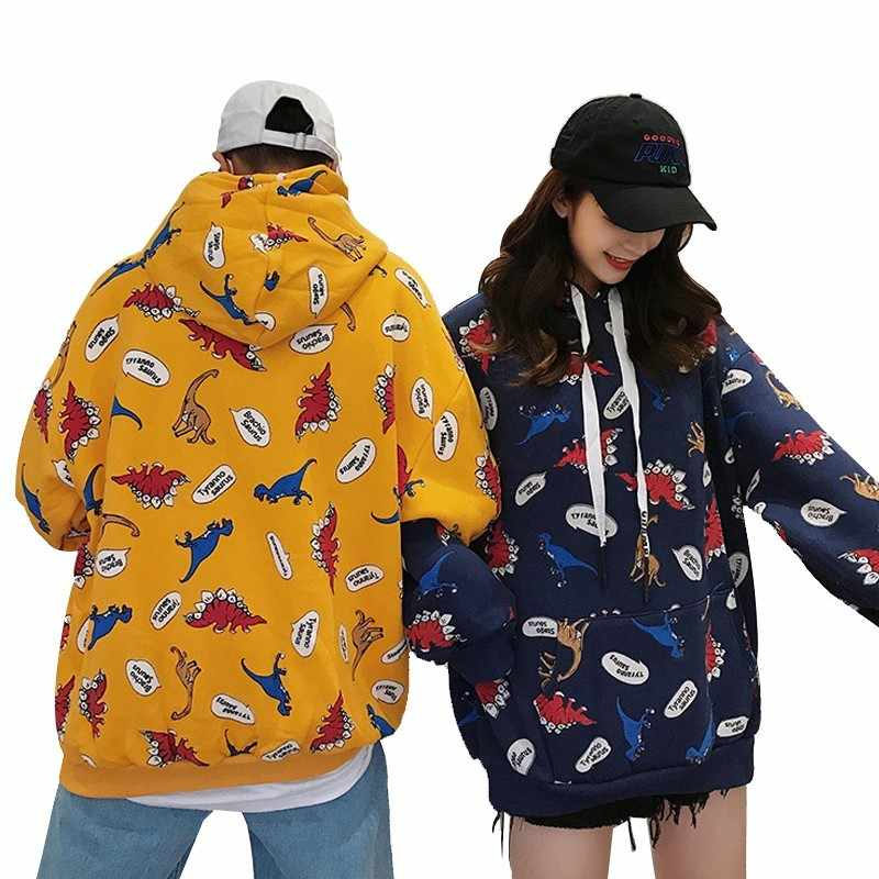 dc21baa70 Men's Hip hop Hoodies Cartoon Dinosaur Prints Hooded Plus Velvet ...