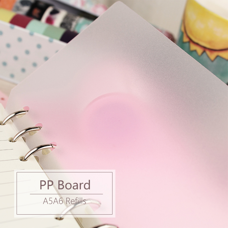 MyPretties Stationery PP Plastics Board 2PCs A5 A6 Refills For Organizer Notebook 6 Hole Binder Planner To Protect Inner Papers