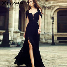 Black Sexy Split Dress Chiffon High waist Hollow shoulder strap Tube top Floor Party Women Long Maxi Xnxee