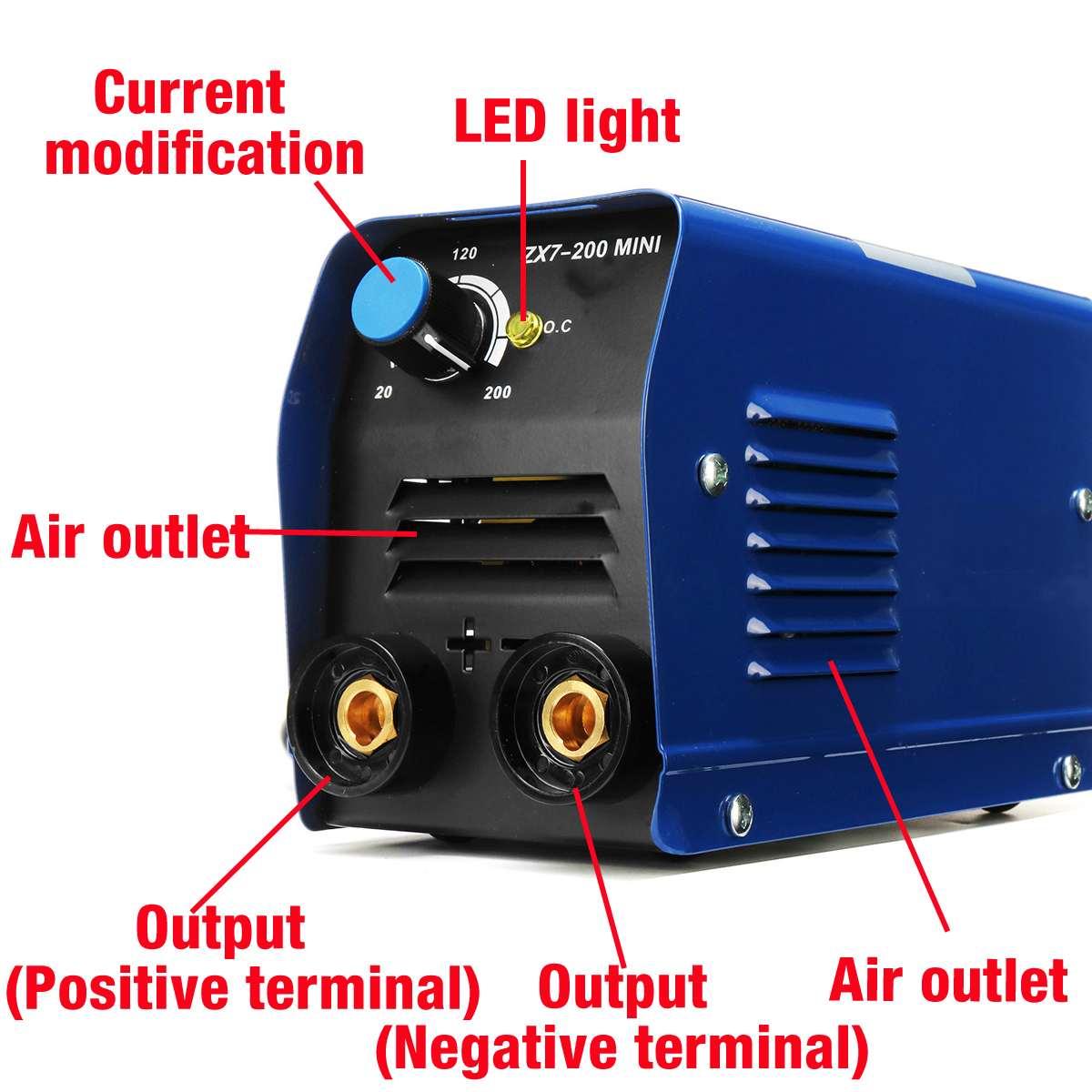 220V ZX7-200 MINI Elektrische Schweißer Haushalts Kleine Inverter DC Tragbare Kupfer Core Schweißen Maschine Blau