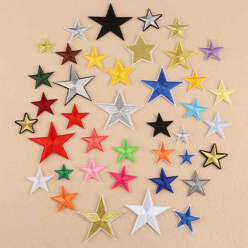 10 PCs Mini Pentagram Star Patches Multicolor Fashion Embroidery Clothing DIY Repair Applique Military Clothes Hat Lapel Badge