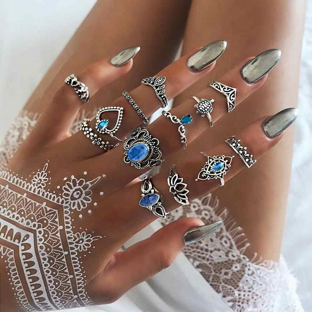 DreamBell 13pcs/set Women Rings Silver Color Retro Engraved Crown Star Jewel Ring Female Jewelry