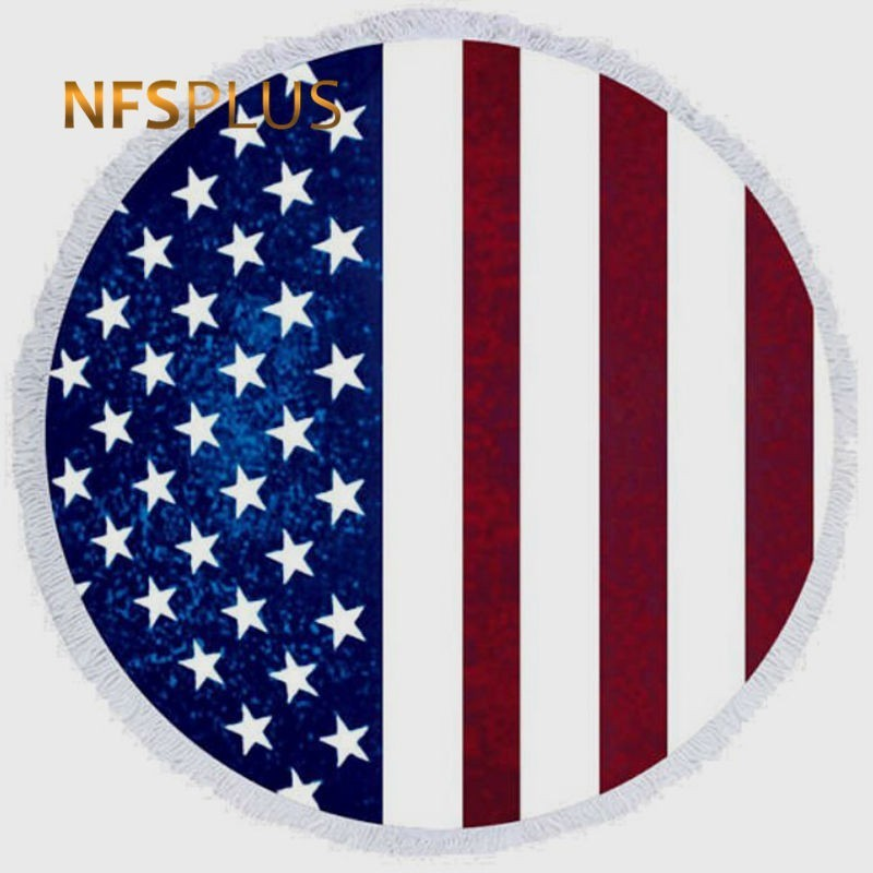 Cute Round Beach Towel 150cm Diameter Polyester American Flag USA Printed Blanket with Tassel Sun-Protective Shawl Cape
